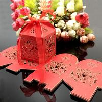 100Pcs Lot Heart Laser Cut Gift Candy Favour Boxes With Ribbon For Wedding Party Table Decoration