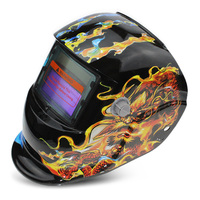 Solar Energy Automatic Changeable Light Electric Welding Protective Helmet With Discolor Dragon Pattern Light Soldering Supplies