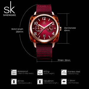 Image 4 - ساعة يد على الموضة من Shengke للنساء مزودة بحزام من النايلون ساعة يد كوارتز للسيدات إصدار جديد 2019