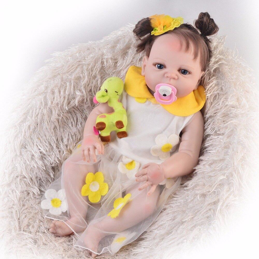23'' Baby Reborn girl Dolls real Vinyl Body Boneca Reborn For Kids Birthday party gift Toys Silicone Baby Dolls Newborn Interact