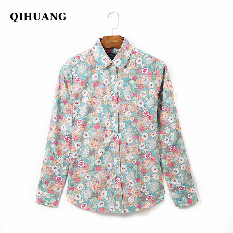QIHUANG Fashion Women   Blouses     Shirt   2018 Floral Printed Turn-down Collar Long Sleeve Cotton   Shirt   Plus Size Women's   Shirt