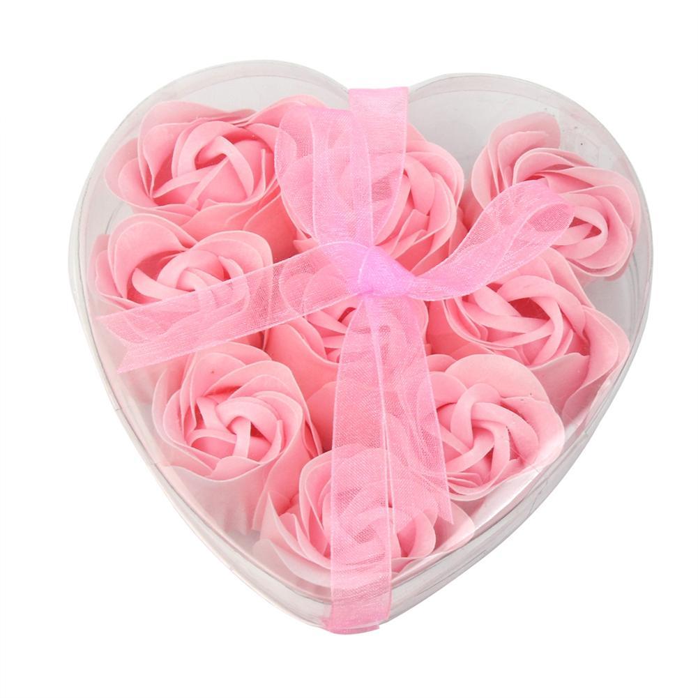 9pcs Women Shower Heart Scented Bath Body Petal Rose Flower Soap Wedding Decoration Gift