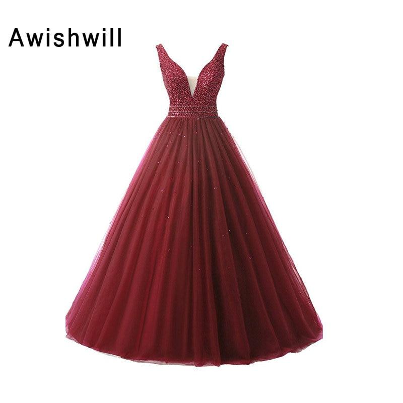 Розкішна довжина підлоги V-подібним вирізом відкрите назад довге плаття партія вишиванки бісером тюль жінок формальні вечірні сукні плаття