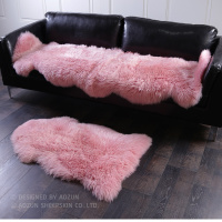Honey pink color 2P whole pelt NewZealand sheepskin rug 60*180cm purple shaggy sheep fur decor carpet for girl bed slide carpet