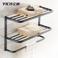 Black Retro 304 stainless steel three layer towel rack wall mounted multi layer towel hanger modern bathroom product