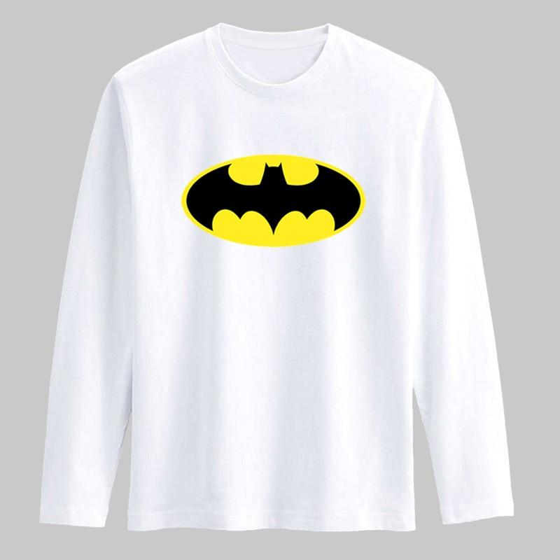 New Batman Symbol Cotton T Shirts Mens Long Sleeve Fashion Funny