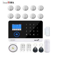 SmartYIBA Аварийная сигнализация wifi GSM сенсорная клавиатура GSM SIM RFID сигнализация беспроводная домашняя безопасность 433 МГц инфракрасный пир дым