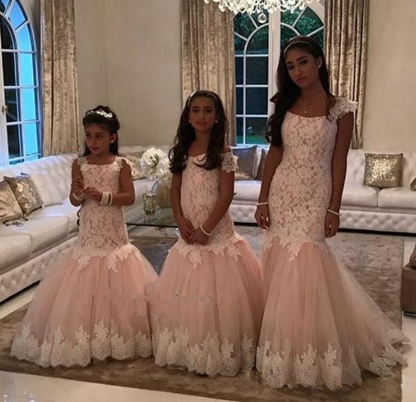 Blush 2019 Flower Girl Dresses For Weddings Mermaid Cap Sleeves Tulle Appliques Long First Communion Dresses For Little Girls