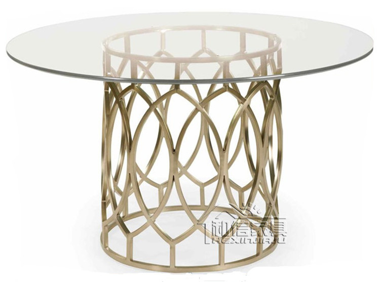 After the golden stainless steel round glass dining table to ...