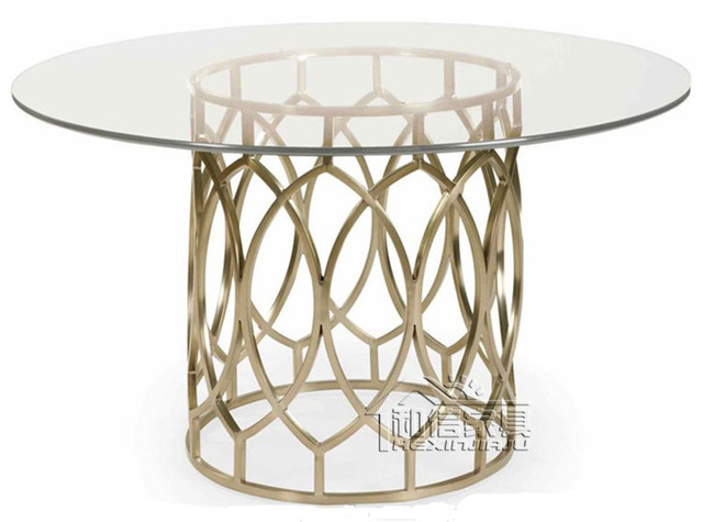 After The Golden Stainless Steel Round Glass Dining Table To Negotiate A  Simple, Modern Round Dining Table Dining Table Small Ap