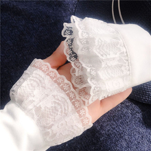 Fashion Women Lace Fake Flare Sleeves solid Lace Pleated Universal False Cuffs Apparel Wrist Warmers four seasons  accessories