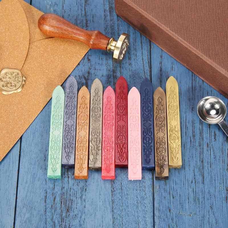 10 Warna Kuno Retro Sealing Lilin Stick Untuk Diy Amplop