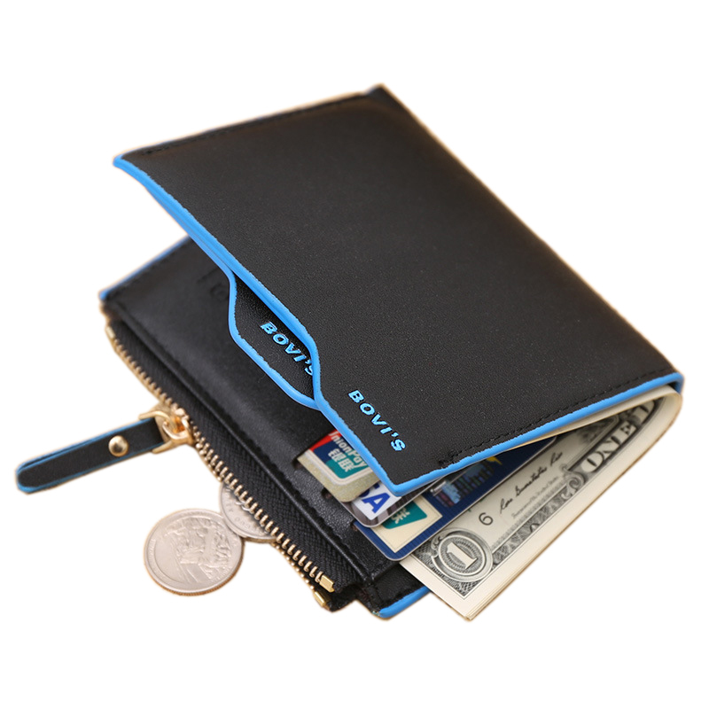 Fashion New Men Wallets PU Leather Bifold ID Holders Credit Card Holder Coin Purse Pockets Clutch Zipper Wallet Free Shipping dilong pu401 usb 2 0 wired pc game pad shocks joystick black 168cm cable
