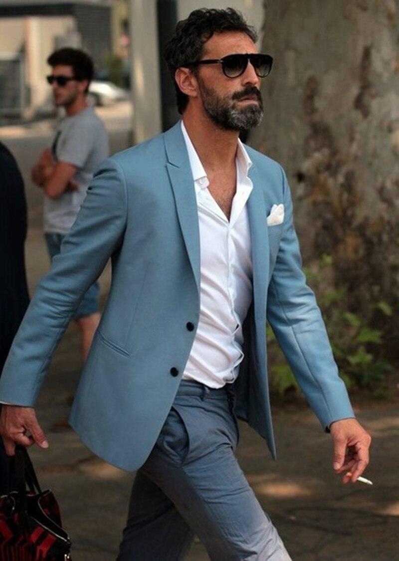 2017 Most Fashion Elegant Blue Men Suit Grey Pants Beach Wedding ...