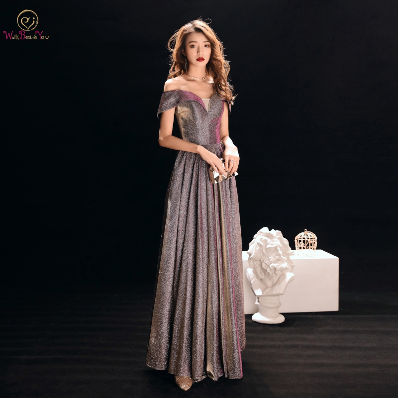 Walk Beside You Plus Size   Evening     Dresses   Formal Long Mother of the Bride   Dresses   Off Shoulder Satin Silver Prom Gown Women 2019