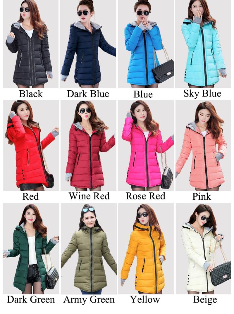 HTB1mLmPBOCYBuNkHFCcq6AHtVXag 2019 women winter hooded warm coat slim plus size candy color cotton padded basic jacket female medium-long  jaqueta feminina