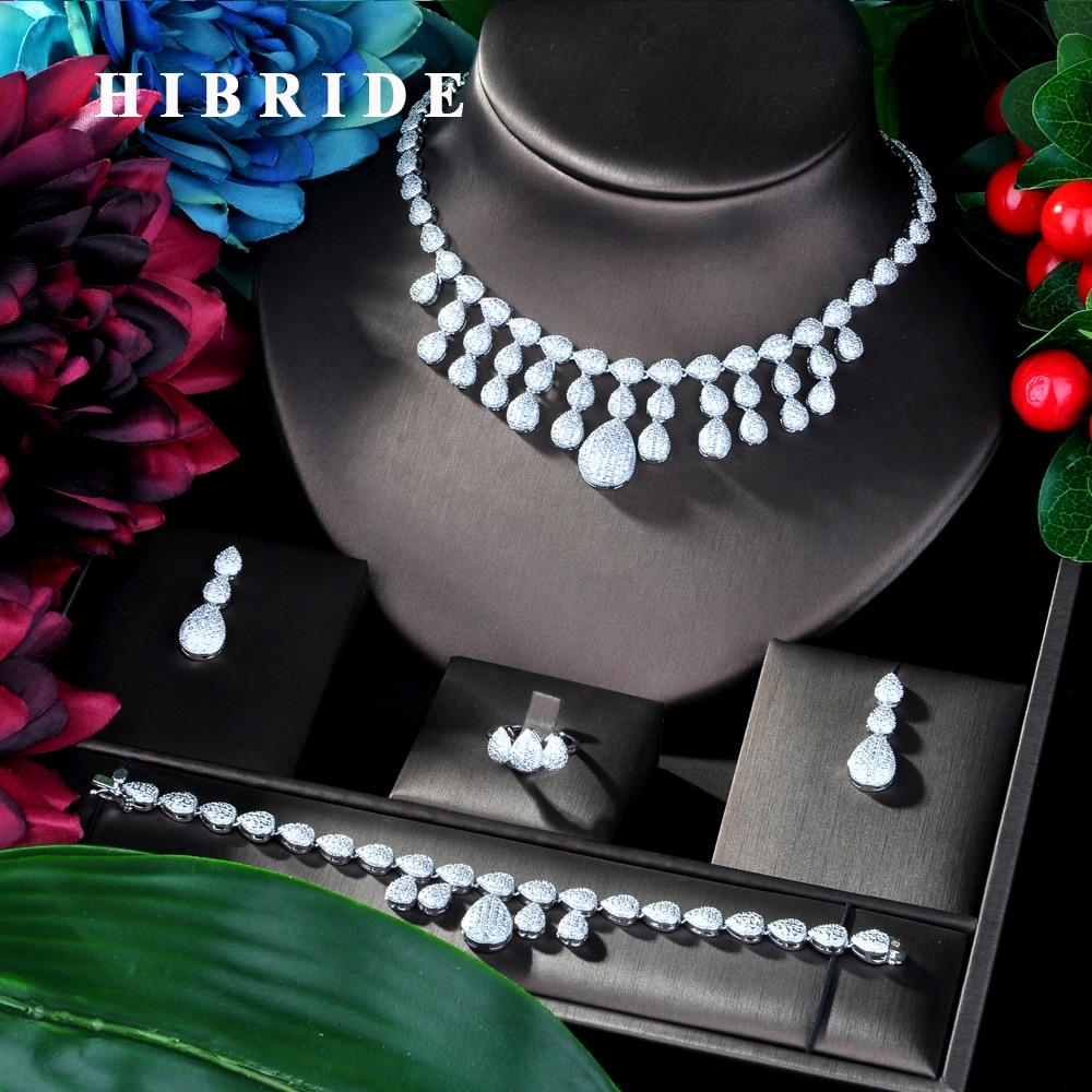 HIBRIDE Luxury Geometry African Necklace Earring Set Jewelry Sets For Women Wedding Zircon CZ Dubai Bridal jewelry Set N-35HIBRIDE Luxury Geometry African Necklace Earring Set Jewelry Sets For Women Wedding Zircon CZ Dubai Bridal jewelry Set N-35