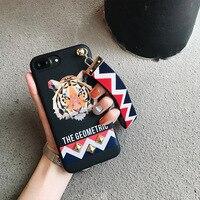 Europe Animal Tiger Rabbit Stud Rivet Wrist Strap Case Case For Apple IPhone 7 Case For