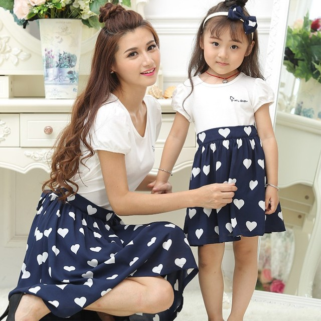 f9b05af14bf064 Mommy and Me Dresses Matching Family Outfits Mother Daughter Dresses Girls  Blue Robe Dress Big Little Sister Polka Dot Clothing