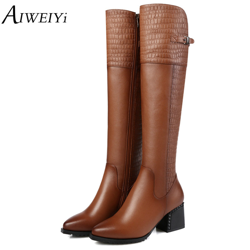 AIWEIYi Women Black Knee High Boots Genuine Leather Long Boots Autumn Winter Ladies Fashion Warm Chunky Heel Work Snow Boots de la chance winter women boots high quality female genuine leather boots work