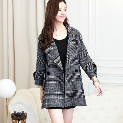 Laine L'automne La Un D'hiver Plaid Version Mode Printemps 2018 Mot 1 Féminine Était Modèles Manteau Mince De Et Dans FBxTng