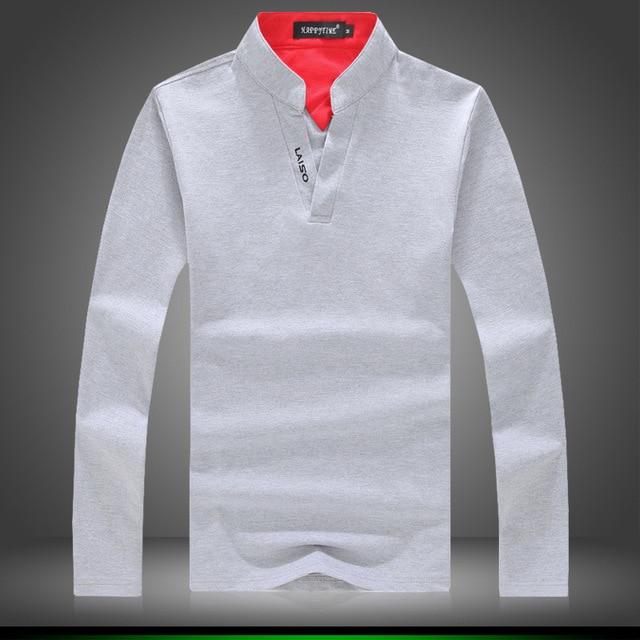 Мужская Одежда Топы и Тис T-Shirts2016 Весна и Осень v-образным вырезом с длинными рукавами рубашки поло воротник мужской Hitz печати новый супер
