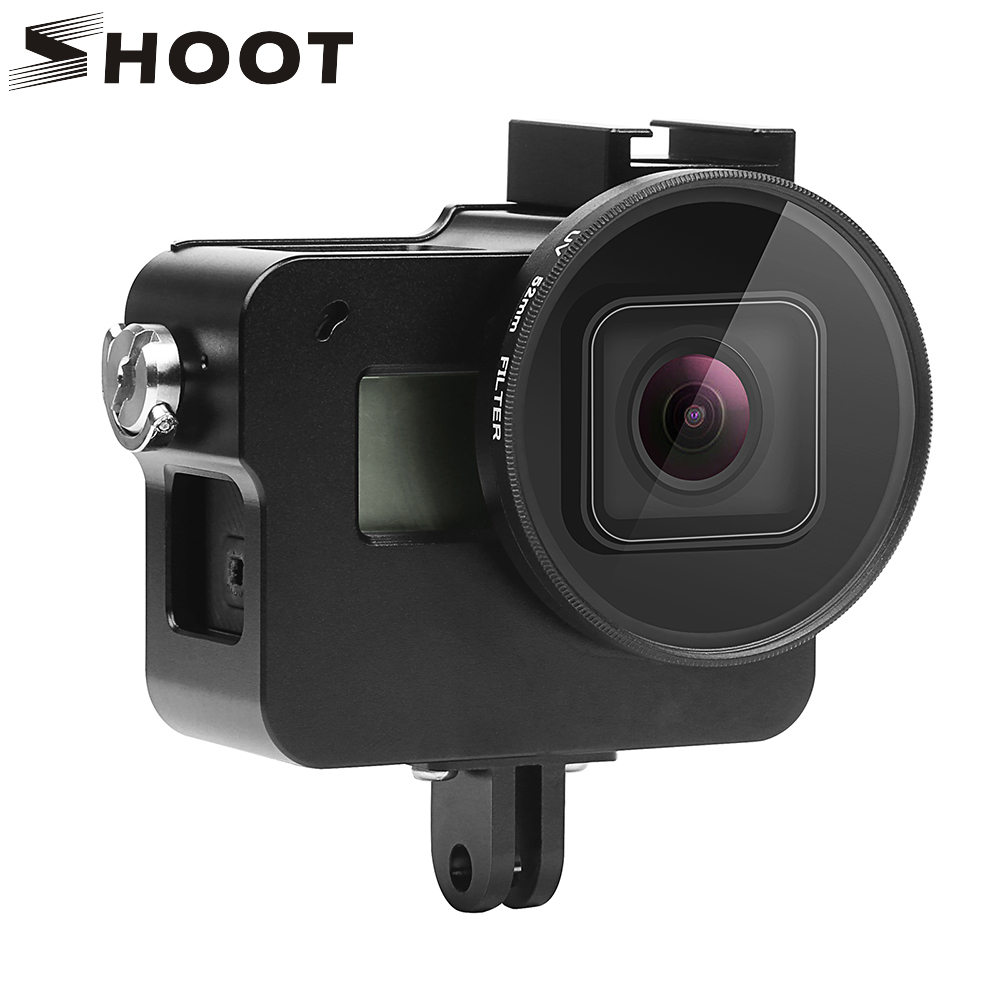 SHOOT CNC Aluminum Alloy Protective Case for GoPro HERO 5 Black Camera Cage Mount with 52mm UV Lens for Go Pro Hero 5 Accessory highpro precision cnc aluminum alloy 52mm lens converter ring for gopro hero3 housing black