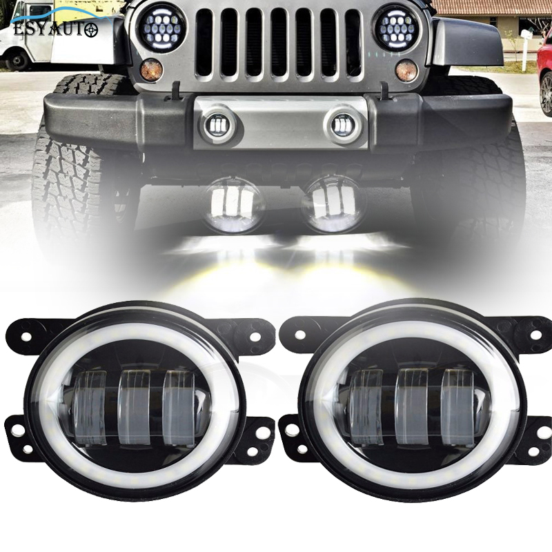 4 in. Projector LED Auxiliary Lamps LED Angel eyes Halo Ring White DRL Fog Lights+Headlights For Jeep Wrangler TJ (2 Pcs/Set)