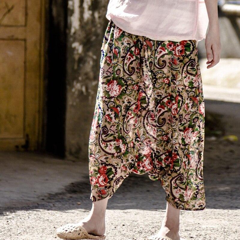 Johnature Women Casual   Pants   Summer 2018 New Cotton Linen Thin Comfortably Soft Loose Print Floral Vintage   Wide     Leg     Pants