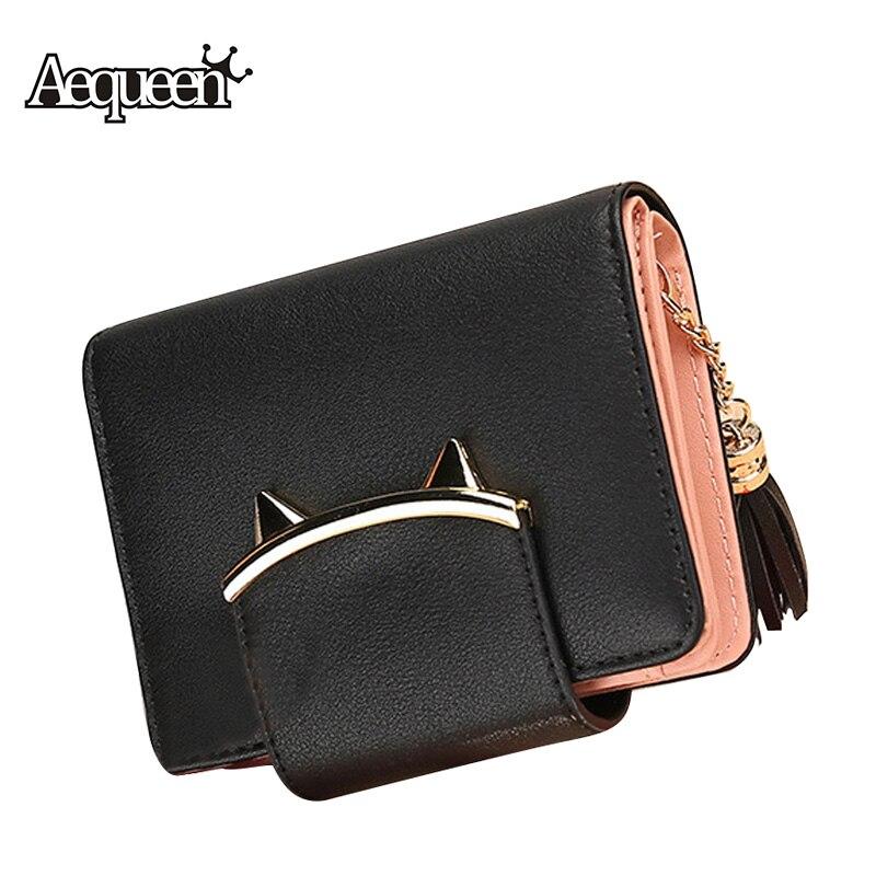 AEQUEEN Fashion Cute Cat Animal Women Tassel Wallets Leather Short Wallet Korean Small Purse Slim Mini Coin Purses Small Clutch shoulder bag
