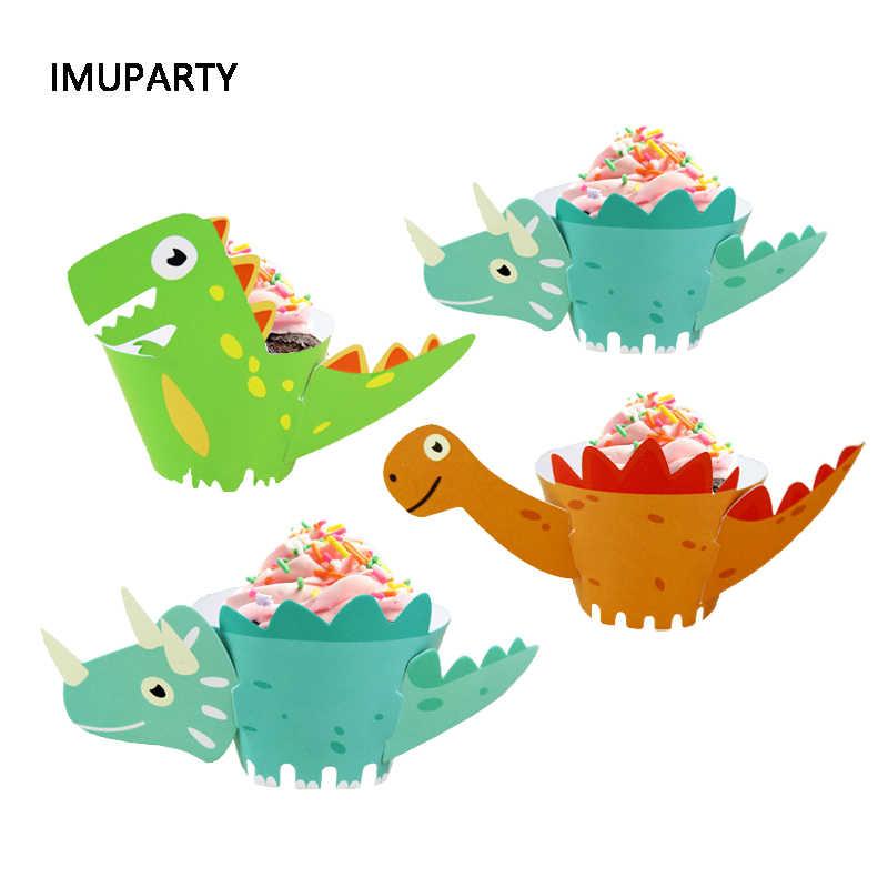 12 pçs/lote Dinossauro Dos Desenhos Animados Do Queque Wrappers Festa de Aniversário de Suprimentos de Decoração Do Bolo DIY Mesa de Sobremesa Decoração Do Chuveiro Do Bebê Dino
