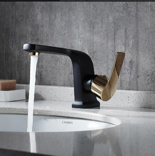 New Faucet unique design brass black and gold basin faucet hot and cold single lever bathroom