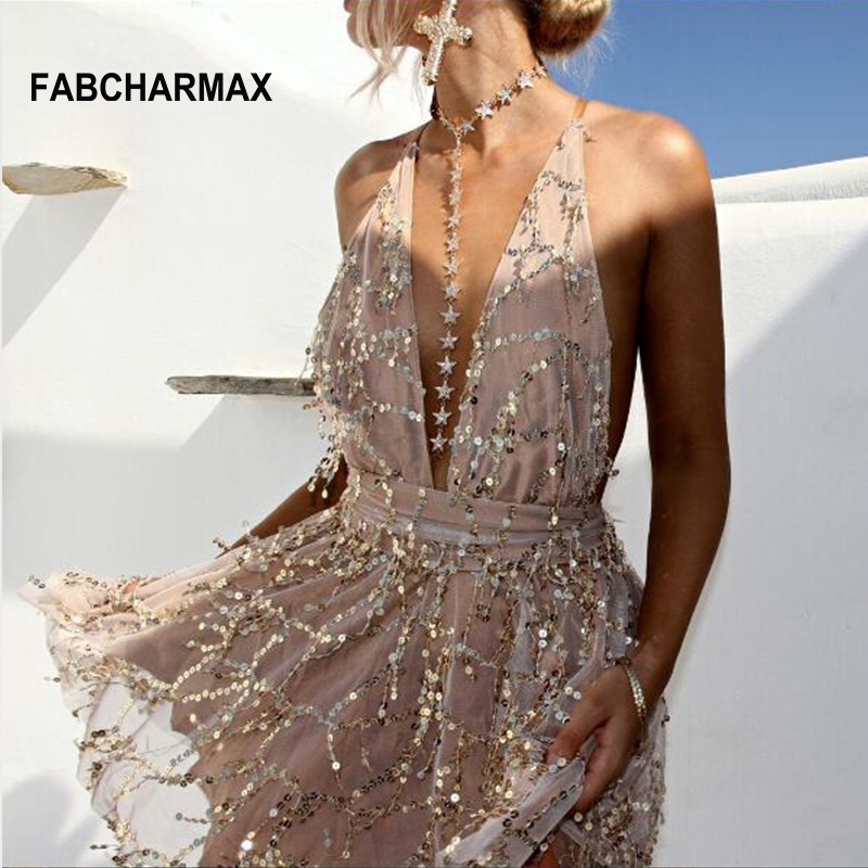 FABCHARMAX sequin jumpsuit women summer jumpsuit deep v neck sexy backless sequined chic club wear overalls ladies playsuits