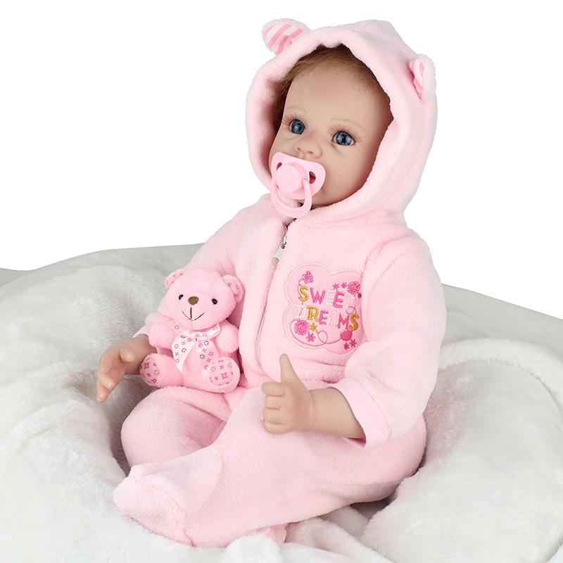 22inch Silicone Reborn Doll BeBe Reborn 55cm PP Cotton Body Newborn Toy Lifelike Reborn Babies Toy Kids Birthday Gift Brinquedos