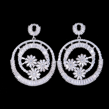 цена SisCathy Brand Silver Round Pendant Drop Earrings For Women Paved Full Cubic Zirconia Bridal Party Statement Earrings Jewelry