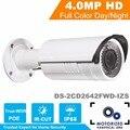 Versão inglês DS-2CD2642FWD-IZS 4MP Câmera IP HD 1080 P Vídeo Em Tempo Real IR Bala Câmera de CCTV Vari-Focal da lente Motorizada 2.8 ~ 12mm