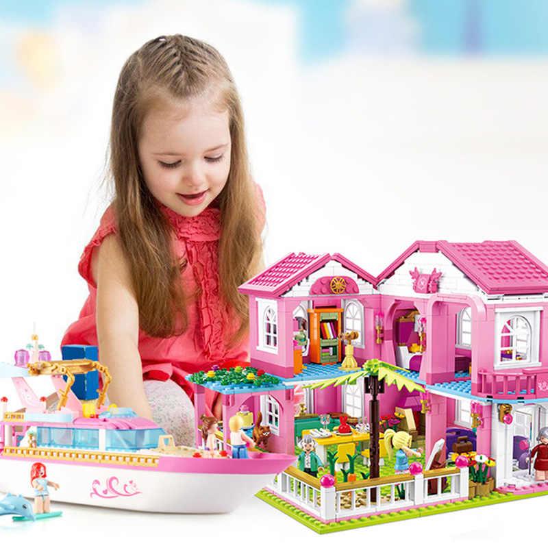 Новый город девушка друзья большой сад вилла модель строительные блоки кирпич Совместимость Legoe техника Playmobil игрушки для детей Подарки