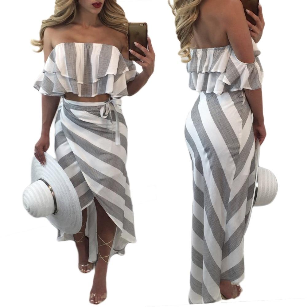 2d5e031386 2017 Ladies Beach 2 unidades falda mujeres sexy raya gris blanco patchwork  Ruffles sin tirantes trajes mujer party Night Club Trajes