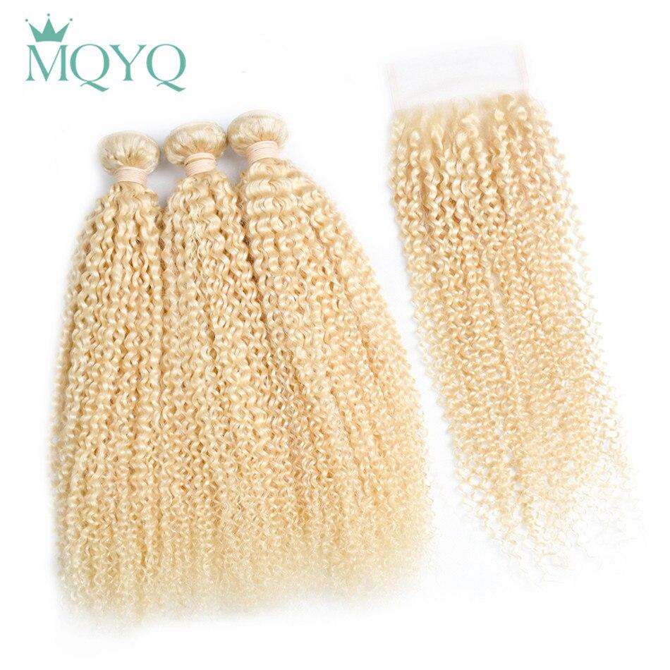 Mqyq перуанский Волосы Remy вьющиеся волосы 3bundles с Синтетическое закрытие волос 613 Блондин Цвет волосы курчавые Человеческие волосы с Синтетич...
