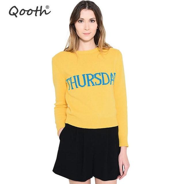 Qooth Otoño Invierno Tejer Camisas Semana Patrones de Letras Tops ...