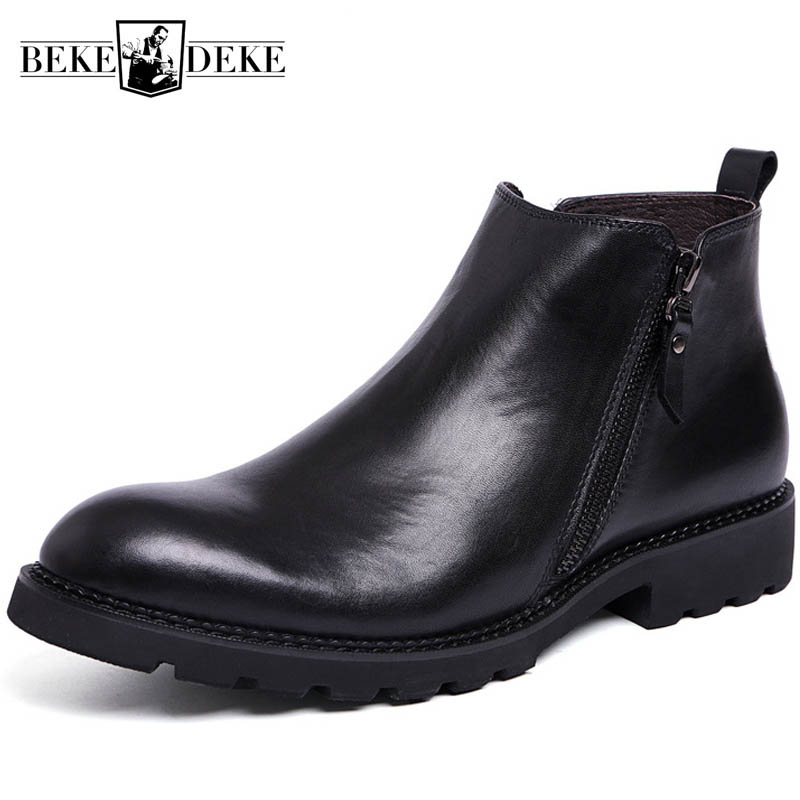 Hiver polaire doublure chaude hommes bottines à fermeture éclair britannique vraie vache en cuir chevalier bottes noir homme d'affaires chaussures formelles chaussures