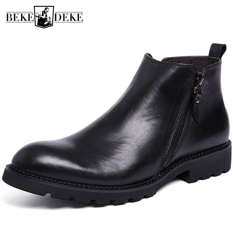 Invierno forro polar cálido hombre tobillo botas cremallera británico Real vaca cuero Caballero botas negro negocios hombre calzado Formal