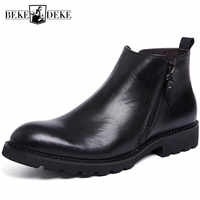 Winter Fleece Lining Warm Mens Ankle Boots Zipper British Real Cow Leather Knight Boots Black Business Man Formal Shoes Footwear