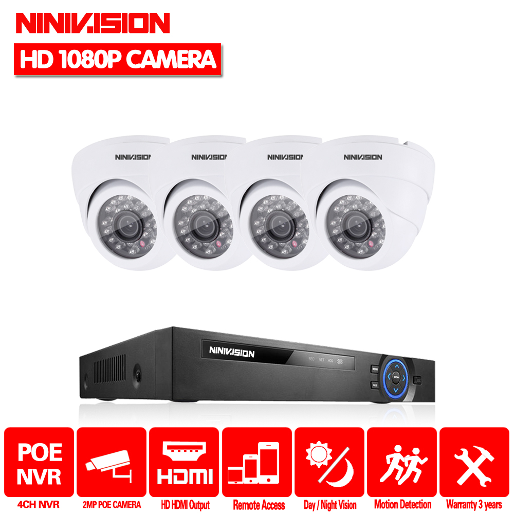NINIVISION 4CH CCTV NVR System POE NVR 1080P Video Output 4PCS 2.0 MP 1920*1080 Dome White CCTV POE IP camera Security SystemNINIVISION 4CH CCTV NVR System POE NVR 1080P Video Output 4PCS 2.0 MP 1920*1080 Dome White CCTV POE IP camera Security System