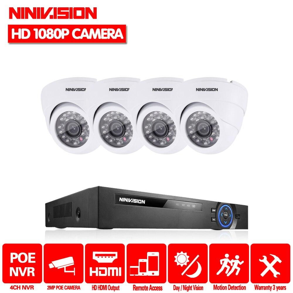 NINIVISION 4CH CCTV Système NVR POE NVR 1080 p Vidéo Sortie 4 pcs 2.0 MP 1920*1080 Dôme Blanc CCTV POE IP caméra de Sécurité Système