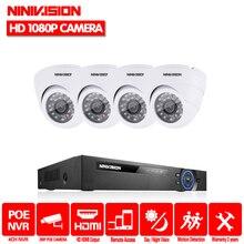 NINIVISION 4CH CCTV NVR Системы POE NVR 1080 P видео Выход 4 шт. 2,0 МП 1920*1080 Купол белый CCTV POE ip-камера безопасности Системы