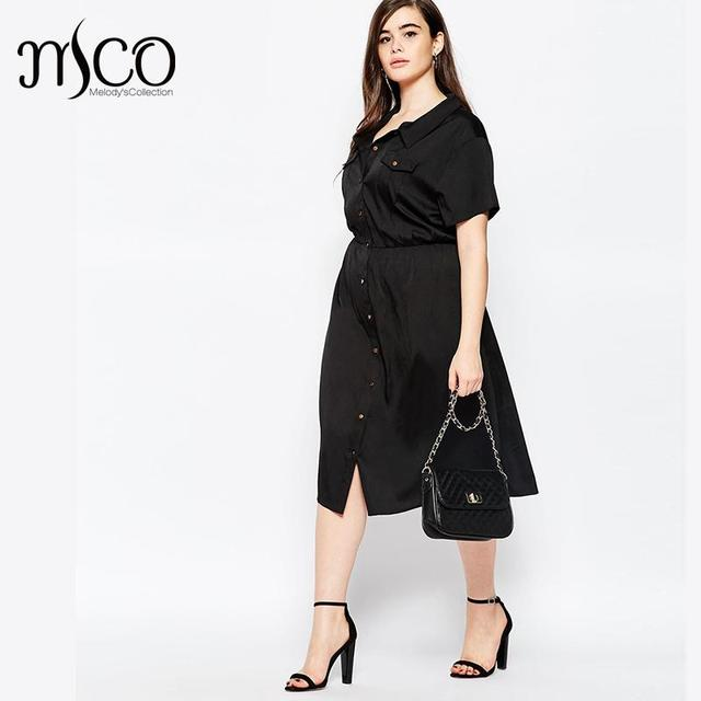 Brand Basic OL Office Maxi Shirt Dress Elegant Short Sleeve Black Women  Long Dresses Retro Plus 8c70300dee56