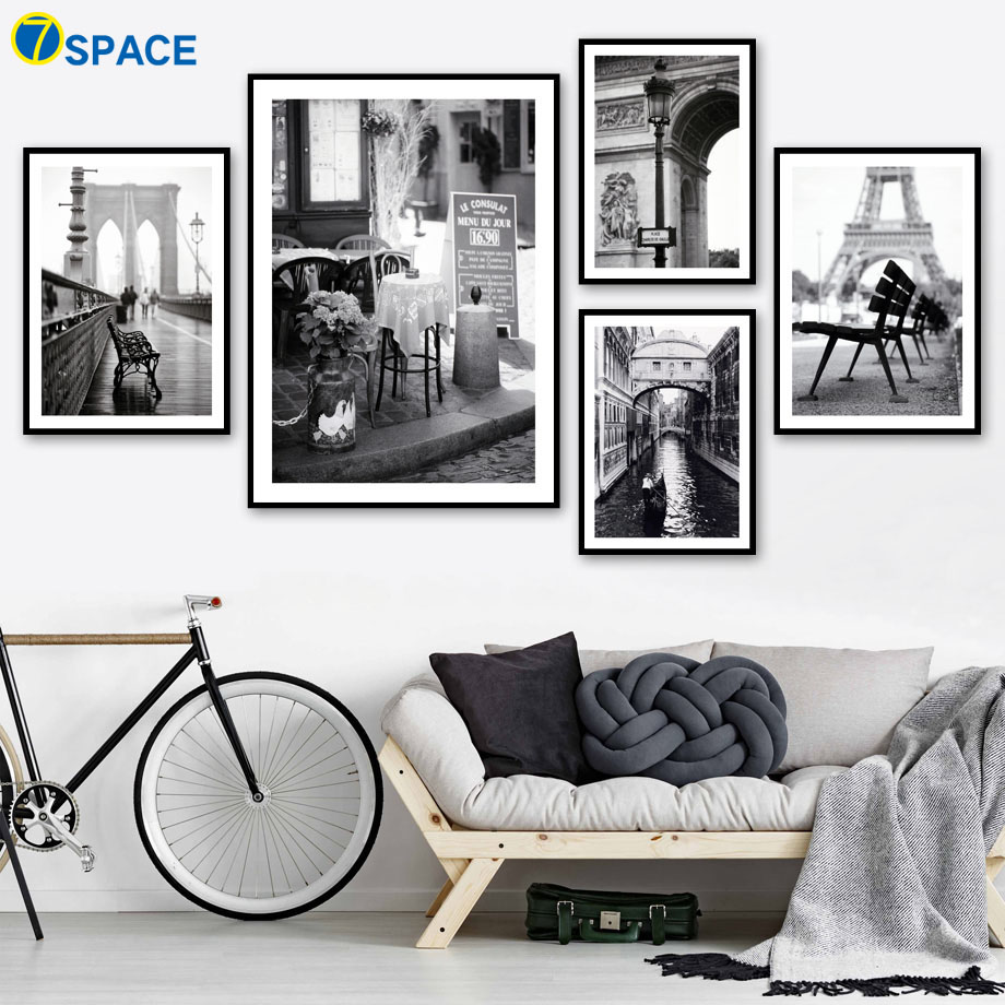 Paris Landscape Wall Art Canvas Painting Nordic Posters And Prints Black White Retro Poster Wall Pictures For Living Room Decor