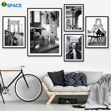 7-Space Landscape Wall Pictures Canvas Painting Art Print Poster Black White Houses Living Room Decor