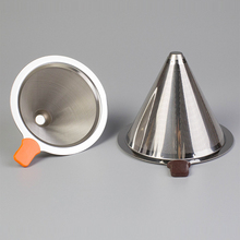 Reusable Stainless Steel Tea Coffee Filter Baskets High Quality Cone Funnel Metal Mesh Filters Brew Drip Coffee Tea Filter Tools
